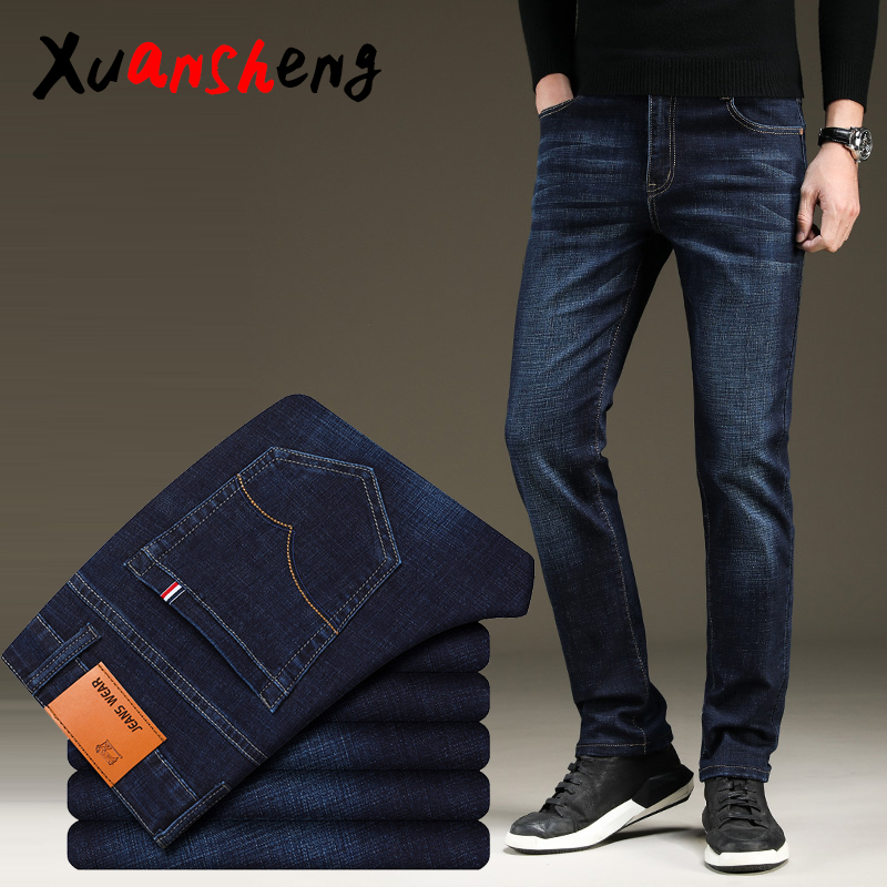 XuanSheng stretch men's jeans 2019 straight brand blue black street clothing classic fashion wash comfortable long pants jeans