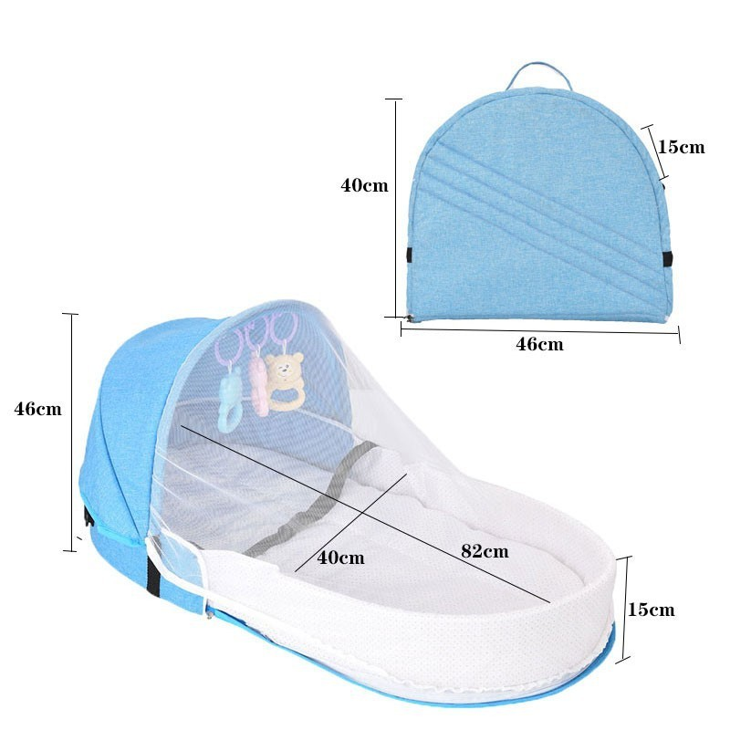 Portable Bed with Toys For Baby Foldable Baby Bed Travel Sun Protection Mosquito Net Breathable Soft Infant Sleeping Basket
