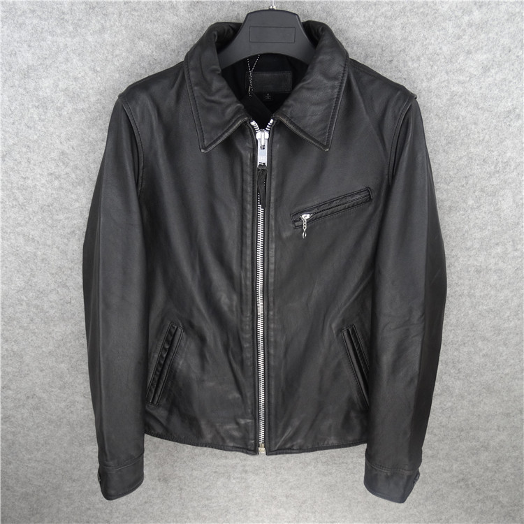 Free Shipping,Brand Men's 100% Genuine Leather Jackets,classic Cow Leather Jacket,japan Style Jacket.black Sales