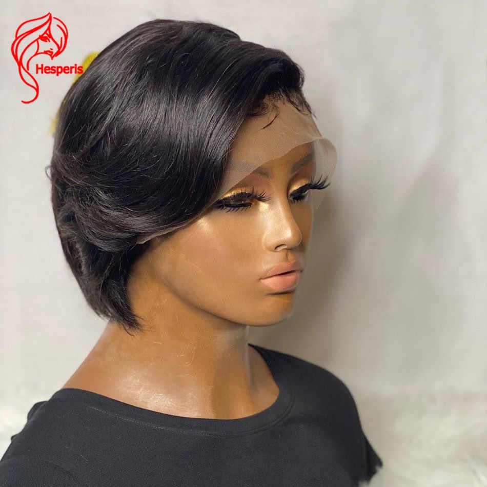 Hesperis 13X6 Bob Lace Front Pruiken Pre Geplukt Braziliaanse Remy Pixie Cut Lace Front Menselijk Haar Pruiken Korte bob Menselijk Haar Pruiken