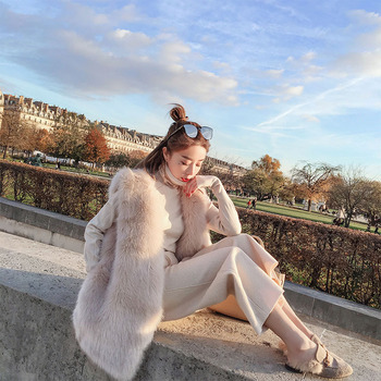 Jesień i zima koreański styl Debutante Faux odzież z futrem futro kamizelka sztuczne futro z lisa przyjazna dla środowiska odzież z futrem kamizelka W tanie i dobre opinie Jiangsu