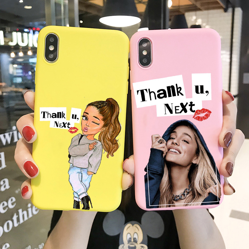 Thank U, Next <font><b>Ariana</b></font> <font><b>Grande</b></font> soft TPU candy colors phone <font><b>case</b></font> For <font><b>iPhone</b></font> 11 PRO MAX X XR XS Max 8 7 <font><b>6s</b></font> Plus image