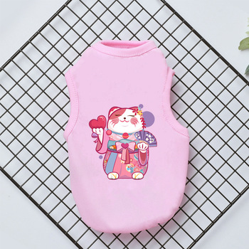 2021 Summer Pet Vest Flamingo Print Sleeveless Dog Shirt Cartoon Puppy Clothing Soft Kitten Costume Small Medium Dogs Clothes image