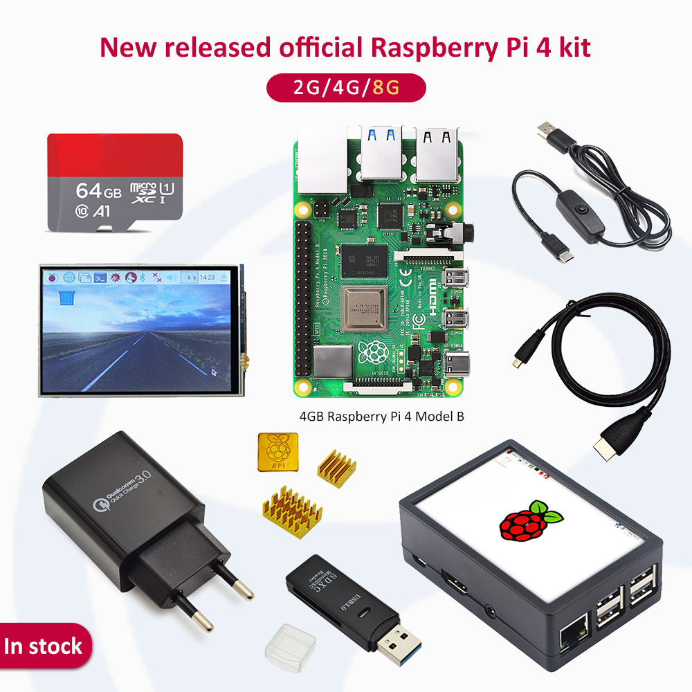 In stock Raspberry pi 4 2GB/4GB/8GB kit Raspberry Pi 4 Model B PI 4B: +Heat Sink+Power Adapter+Case +3.5 inch screen