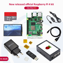 In stock Raspberry pi 4 2GB/4GB/8GB kit Raspberry Pi 4 Model B PI 4B: +Heat Sink+Power Adapter+Case +HDMI Cable+3.5 inch screen