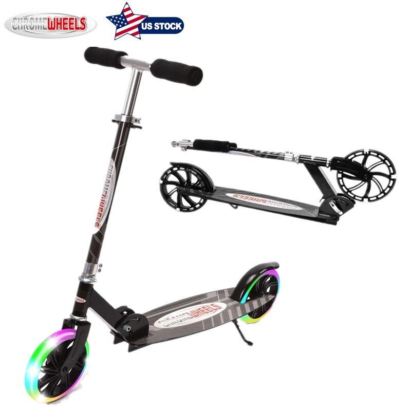 Scooter 8 ''pu 2 roues pliable réglable en hauteur avec lumière LED vélo d'équilibre pour enfants