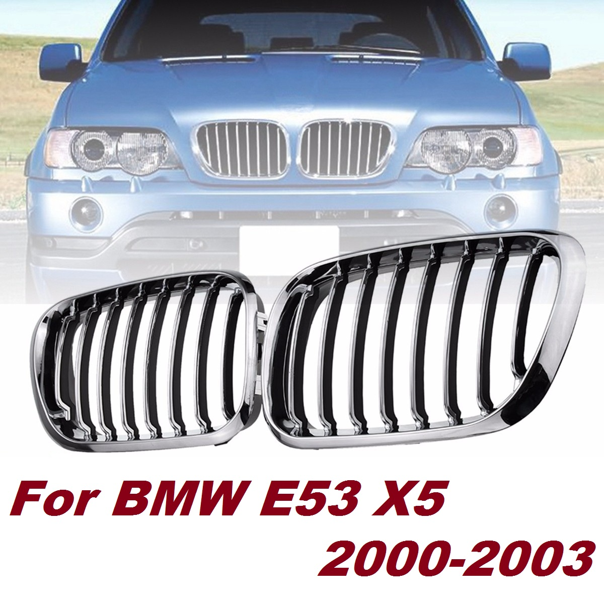 Pair Front Hood Kidney Sport Grills Grille Chrome + Black Car Racing Grills For BMW <font><b>E53</b></font> X5 2000 <font><b>2001</b></font> 2002 2003 image