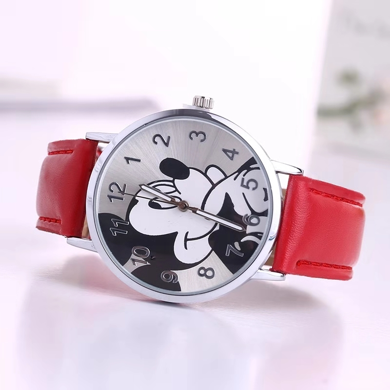 Hot Style Children's Cartoon Mickey Mouse Watch Cute Girl Boy Student Belt Quartz Watch