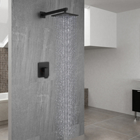 Bathroom Products Black shower set Single function Waterfall Rain Shower Faucet Embedded box Mixer Valve Concealed shower