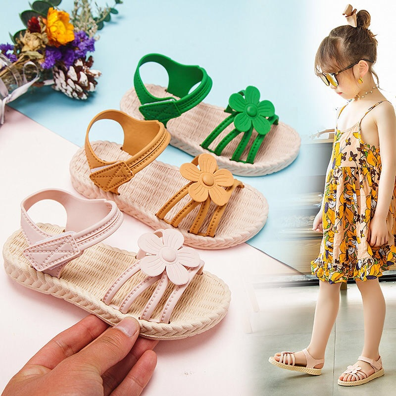 Kids Child Beach Shoes Floral Butterfly Bohemian Style Sandals Summer Slippers