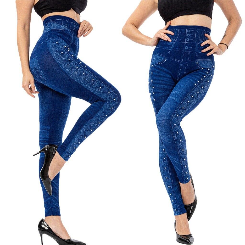 40# Leggings Women Imitation Cowboy Plus Size Leggins Bead High Elasticity Legging Slim Cropped Pants лоссины для фитнеса Leggings    - AliExpress