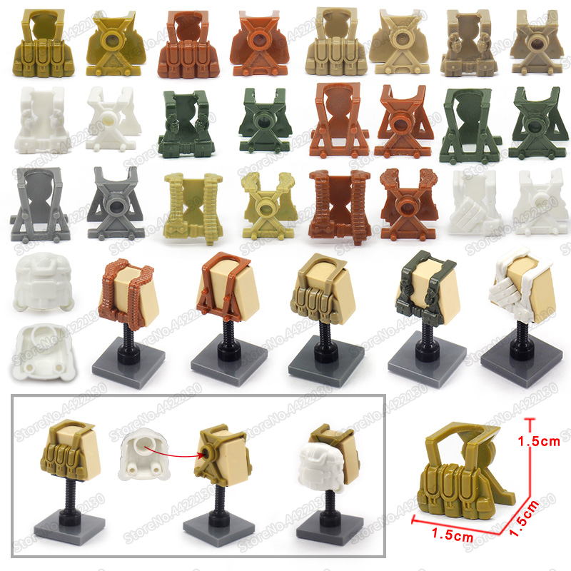 Military Battle suit Equipment Figures Building Blocks Armed Vest German Army ww2 Special Weapons Forces Diy Boys christmas Toys