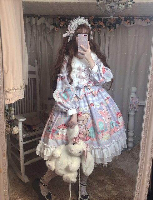 Купить японское платье в стиле лолиты с круглым вырезом и кружевным картинки цена