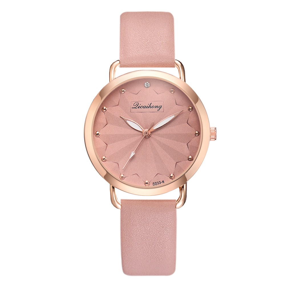 Fashion Women Watches Romantic Dot Dial Ladies Quartz Wristwatch Simple Soild Color Design Leather Strap Clock Montre Femme@50