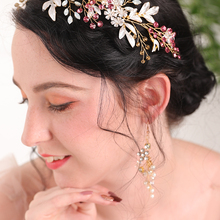 Earrings Hair-Accessories Wedding-Hat Bride-To-Be-Set Gold Banquet of And for Women Leaves
