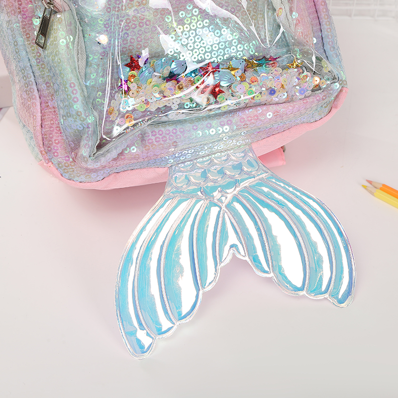 [New Arrival] Glitter Sequin Unicorn Versus Mermaid Transparent Backpack