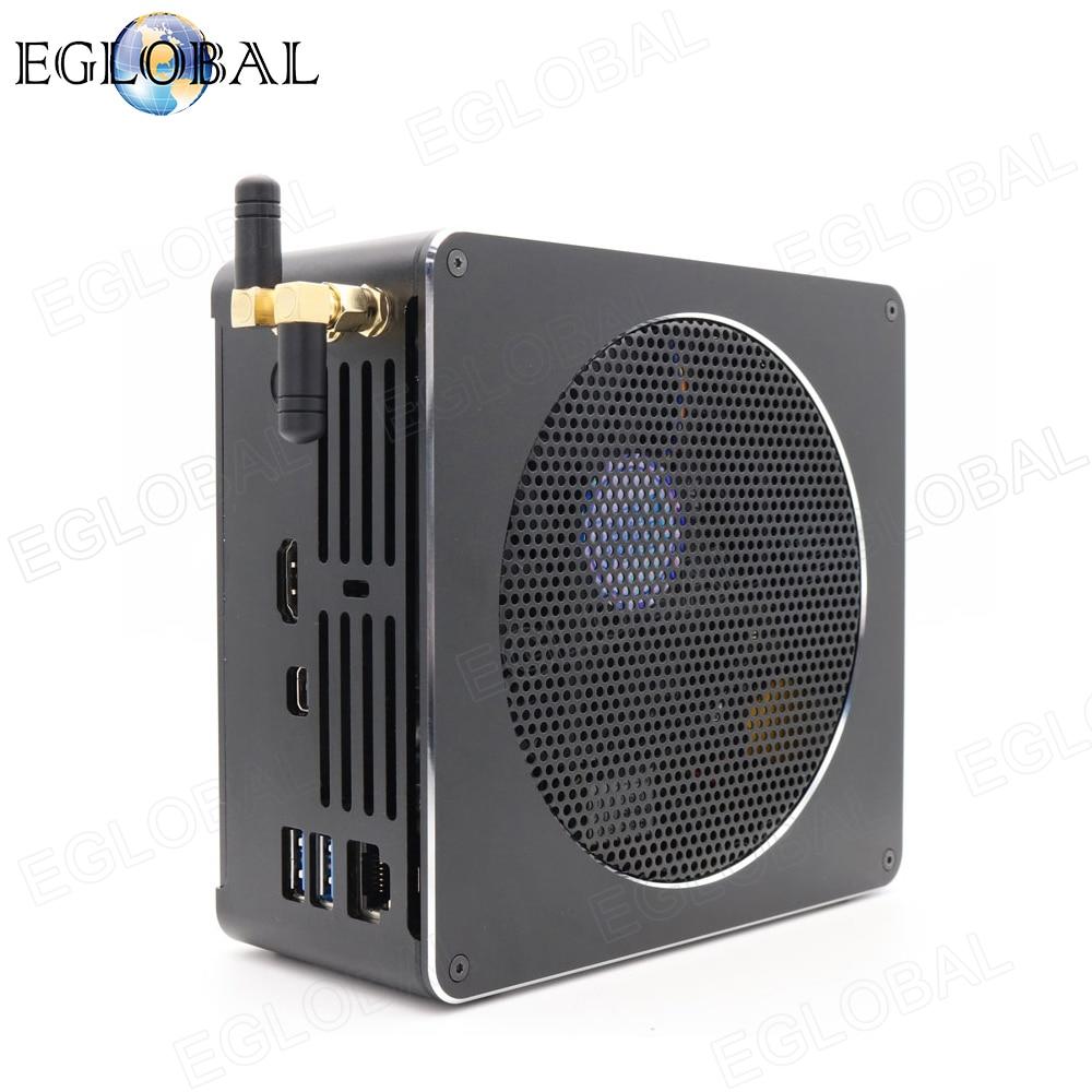 Eglobal игровой Мини ПК 2 SODIMM DDR4 до 64 Гб Intel Core i9/i7/i5 Вентилятор охлаждения Мини компьютер тип-c DP HDMI AC wifi