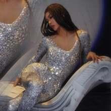 Женский костюм с блестящими стразами эластичный Облегающий комбинезон