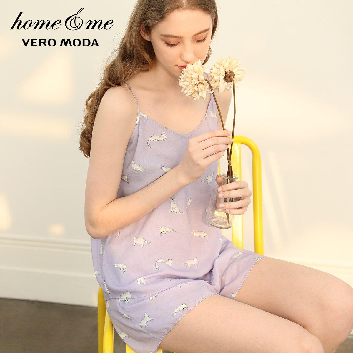 Image 2 - Vero Moda 2019 New Arrivals Cat Print Sun top Leisure Homewear Pajamas Set   3192TC505-in Pajama Sets from Underwear & Sleepwears