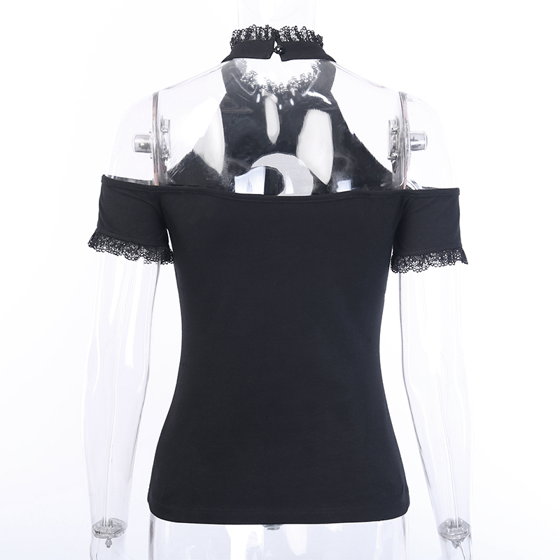 H8012eb506cd14066b9748e4085334facN - InsGoth Sexy Off Shoulder Black Halter T-shirts Women Gothic Punk Moon Hollow Out Bodycon Female Tops Blackless Cotton Tees