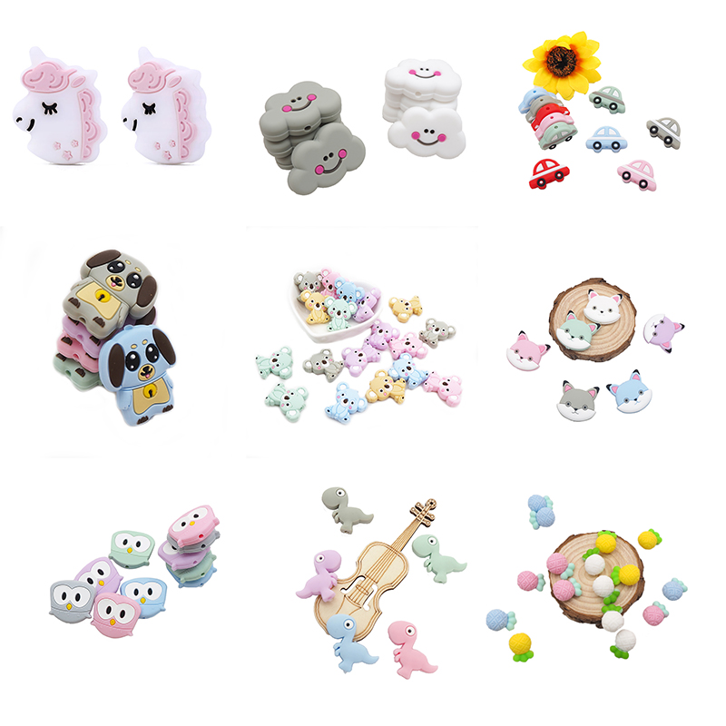Chenkai 10PCS Silicone Koala Turtle Fox Cloud Car Bird Teether Beads Baby Cartoon Animal Teething Beads For Newborn Gifts
