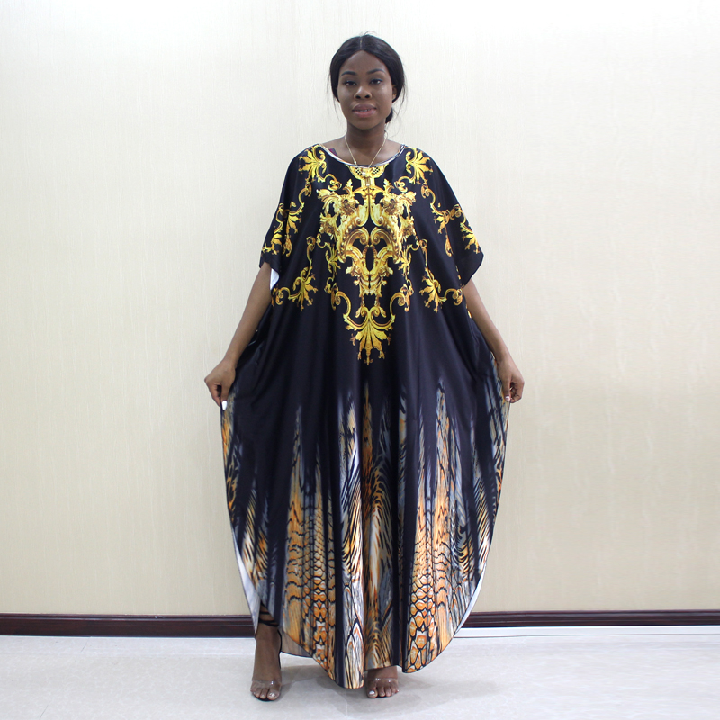 Newest Arrivals African Fashion Design Gold Floral Animal Pattern Printed O-Neck Batwing Sleeve African Fashion Mama Dresses