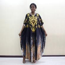 新加入到着アフリカのファッションデザインゴールド花動物柄プリントの O ネックバットウィングスリーブアフリカのファッションママドレス