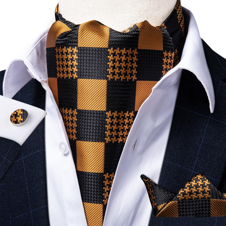 Gold Check Black Silk Ascot Pocket Square Cravat Formal Dress Wedding Men Vintage Self Tie British Style Asscot Necktie DiBanGu