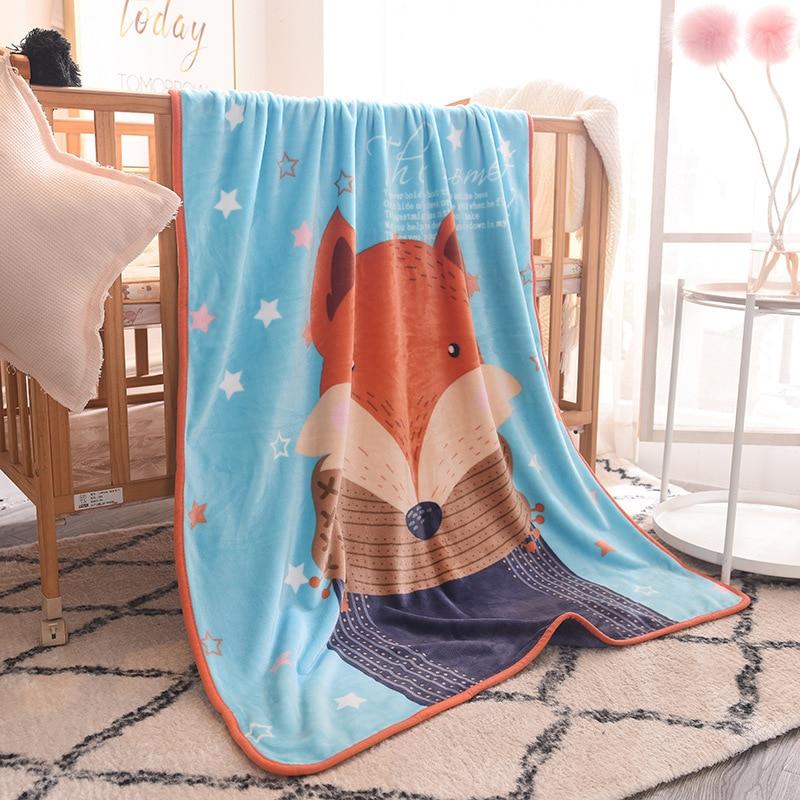 Newborn Bedding Winter Warm Swaddling Blanket Kids 140*100 Cm Flannel Cartoon Wrap Blanket Baby Thermal Soft Cotton Soft Blanke