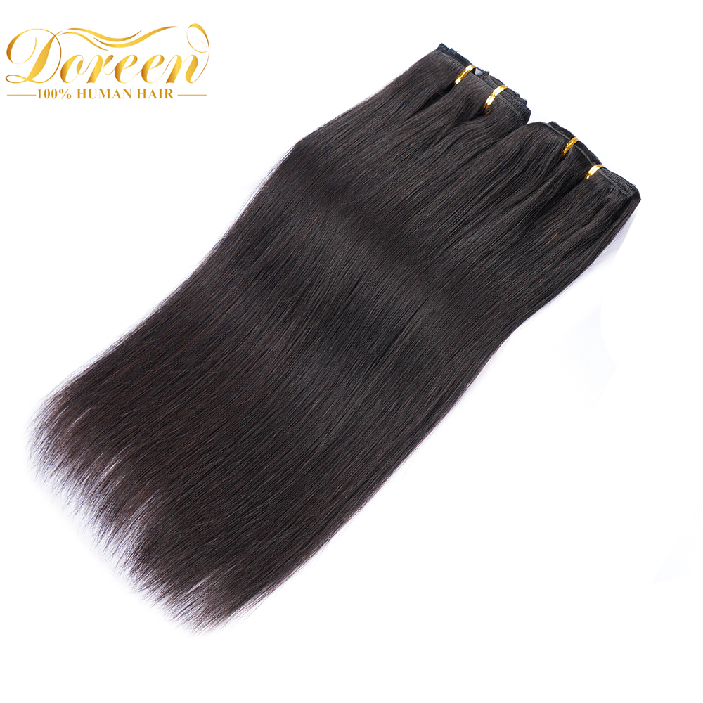 Human-Hair-Extensions Doreen Full-Head-Set Clip-In Remy Straight Brazilian 200G 160G