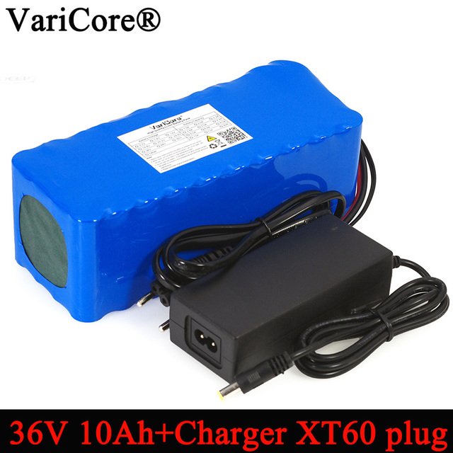 VariCore 36V 10000mAh 500W High Power 42V 18650 Lithium Battery Motorcycle Balance car Bicycle Scooter with 42v 2A Charger