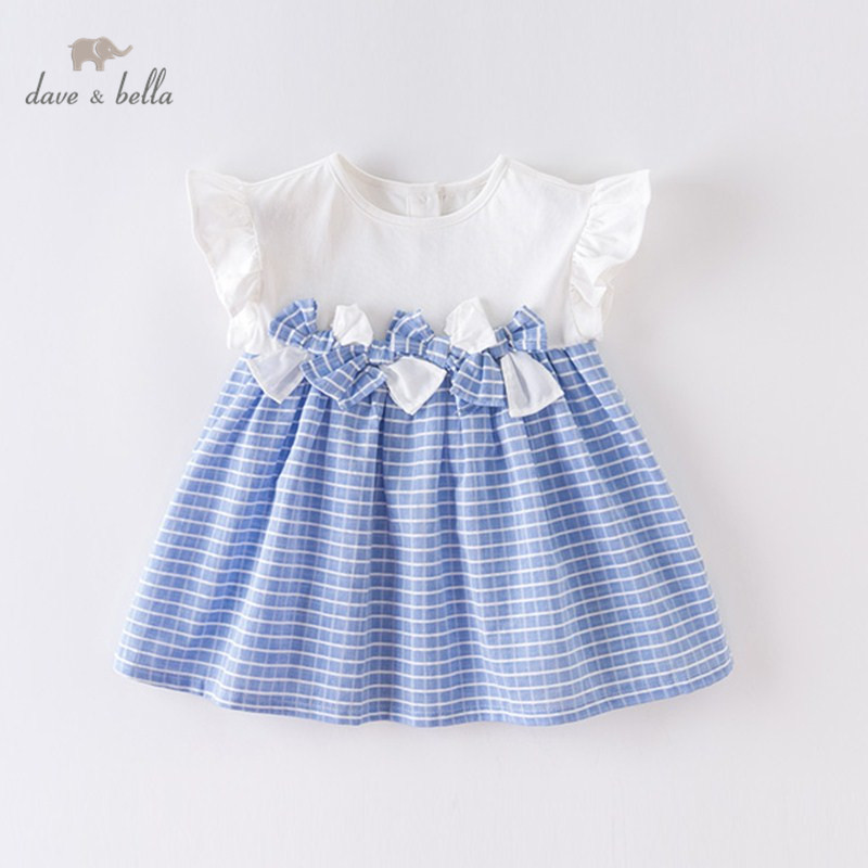 DBM14048 Dave Bella Summer Baby Girl's Princess Bow Striped Dress Children Fashion Party Dress Kids Infant Lolita Clothes