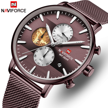 NAVIFORCE 9169 Business Quartz Watch Men Stainless Steel Waterproof Mens Watches Chronograph With box