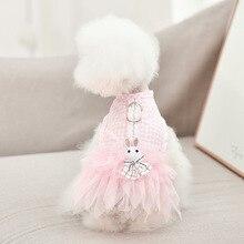 Dog Clothes Summer Dress Harness Cute cartoon Plaid Pet Skirt Thin Breathable Korean Dog Clothes