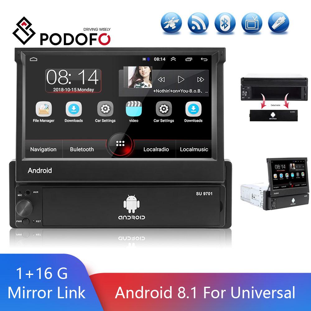 Podofo 1 Din Car Radio Android 8.1 Universal Retractable FM GPS Radio Car Stereo DVR USB 1080P Multimedia Player Support Camera