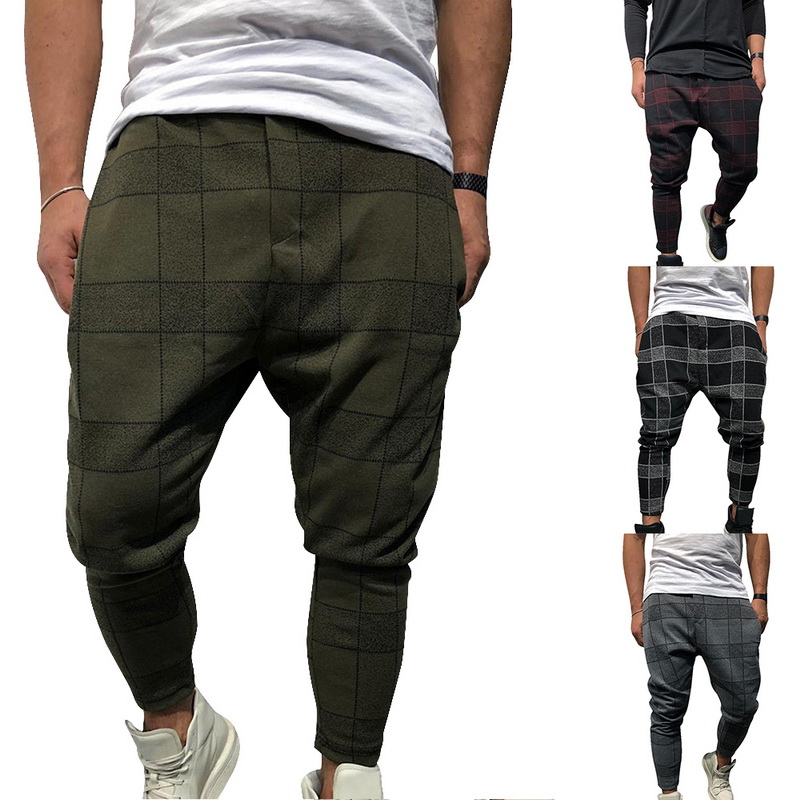 WENYUJH Men Casual Harem Pants Stylish Loose Plaid Pant Printed Joggers Sporting Trousers Men Hip Hop Pantalon Homme 2019