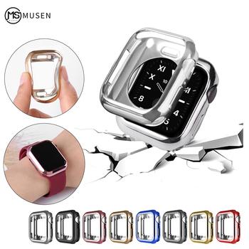 Zegarek etui ultra cienkie pozłacany zegarek przypadku dla Apple 4 3 2 1 42MM 38MM miękkie przezroczyste etui z termoplastycznego poliuretanu dla iWatch 5 44MM 40MMaccessories tanie i dobre opinie Silicone plated CN (pochodzenie) Zegarek Przypadki BD-3801 Reference option map 38mm 40mm 42mm 44mm Series 54321