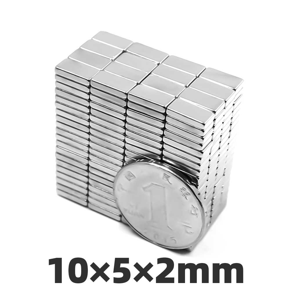 愛 DIY 20/50/100 個 10 ミリメートル × 5 ミリメートル × 2 ミリメートルネオジムマグネット超強力電源冷蔵庫立方体ブロック希土類 N35 マグネット 10*5*2 ミリメートル