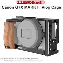 UURig Vlog Khung Máy Ảnh Với Tay Cầm Bằng Gỗ Cầm Tay Đôi Giày Lạnh Ốp cho Canon G7X Mark III Phụ Kiện ốp lưng Giàn Khoan