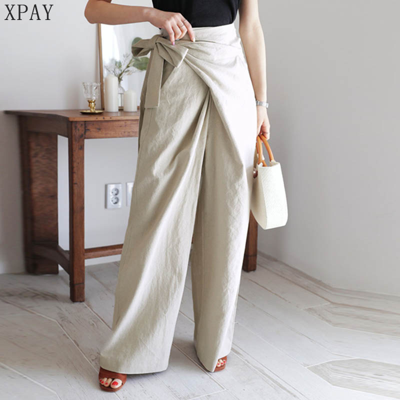 2020 Spring Summer Solid High Waist Trousers Femme Loose Casual Lace-Up Casual Flax Pants Women Korea Soft Female Wide Leg Pants