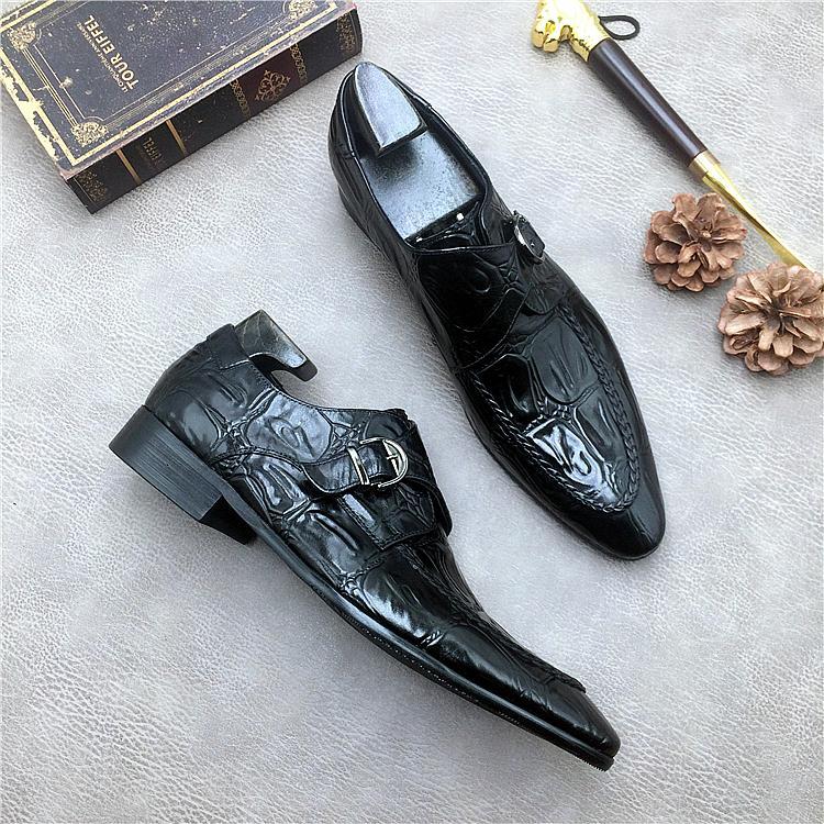 Negócios Flats Sapatos De Crocodilo Genuíno Couro