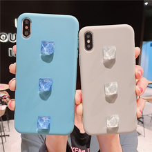 3D Ice cube Luxury Soft Back Matte Cases for iPhone 7 plus 8 6 6s X XS max XR Case Shockproof TPU Silicone Cover Capa