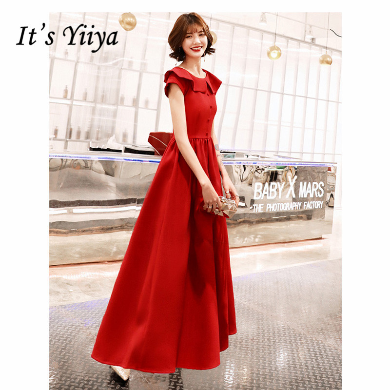 It's Yiiya Evening Dress 2019 Short Sleeve Elegant O-Neck Button A-Line Dresses Plus Size Red Long Party Formal Dresses E1273