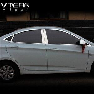 Image 1 - Vtear Dành Cho Xe Hyundai Solaris Phụ Kiện Cửa Sổ Viền Bao Bên Ngoài Trang Trí Cơ Thể Chrome Xe Ô Tô Sản Phẩm Tạo Kiểu Phụ Kiện 2011 2014