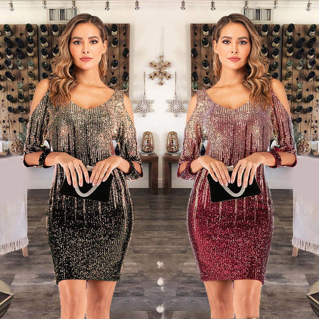 Women Party Dress Glitter Shiny Wrap Dress Mini Sexy O Neck Clubwear Tunic Ladies Backless Sequin Dress 4