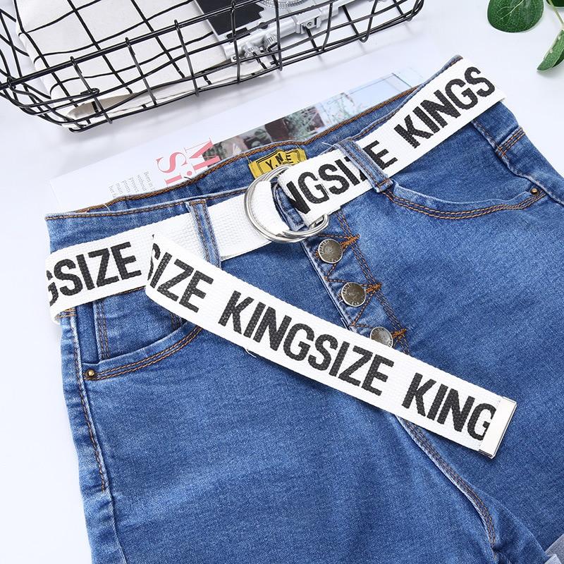 TagerWilen ремень стиль буквы напечатаны мода унисекс двойное D Кольцо холст ремень длинные джинсы ремни для женщин брезентовый мужской ремень - Цвет: KZ-White