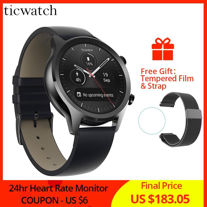 Ticwatch C2 Smartwatch Desgaste Android SISTEMA OPERACIONAL Embutido GPS Monitor De Freqüência Cardíaca de Fitness Rastreador Google Pay 400mAh 1-1.5 dias 1.3 ''AMOLED