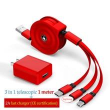 Z4s 3in1 cabo retrátil e 2a carregador rápido telescópico usb tipo-c apple multi carregamento para samsung s20 huawei anti-enrolamento