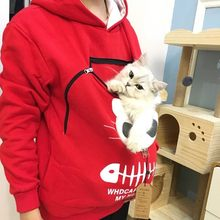 Women's Sweatshirt Animal Pouch Hood Tops Ladies Carry Cat Breathable Pullover Blouse Female Print Fashion Casual Autumn Blouse(China)