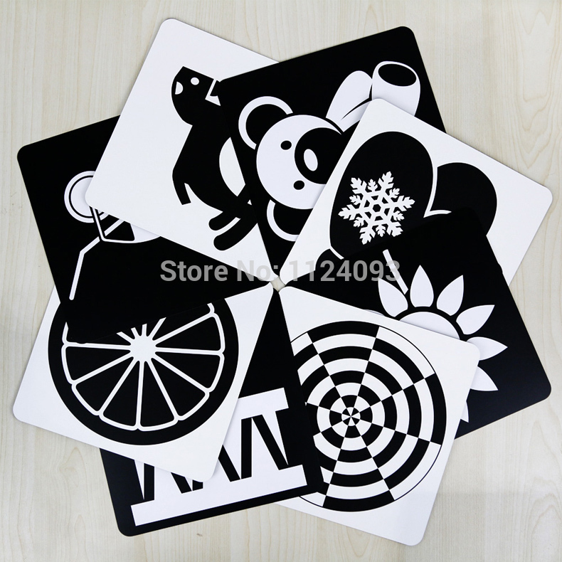Newborn Baby Visual Training Enlightenment Card Black White Cards Color Big Cards Green Healthy Book,size:21*21cm,set Of  4